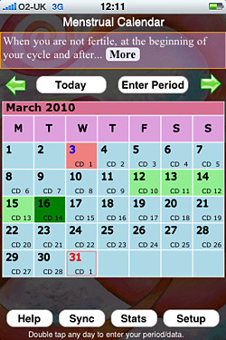 Free Menstrual Calendar for the iphone,Menstrual Calendar,Menstrual Calendar iphone